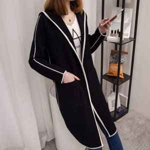 This is a stylish and thin outerwear with a bi-color line accent.A popular classic hooded long cardigan.