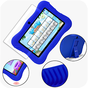case and protector - Contixo V9-3-32 7 Inch Kids Tablet, 2GB RAM 32 GB ROM, Android 10 Tablet, Educational Tablets For Kids, Parental Control Pre Installed Learning Game Apps WiFi Bluetooth Tablets For Kids, Dark Blue
