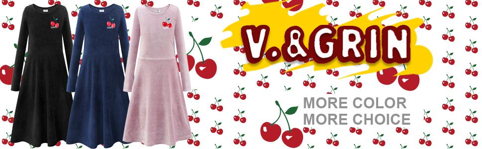 V.&GRIN Girls Long Sleeve Velvet Dress