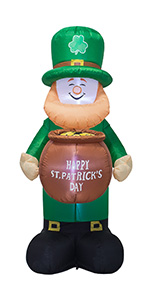 6 Feet St. Patrick's Day Inflatable Leprechaun Holding a Cylinder Blow Up