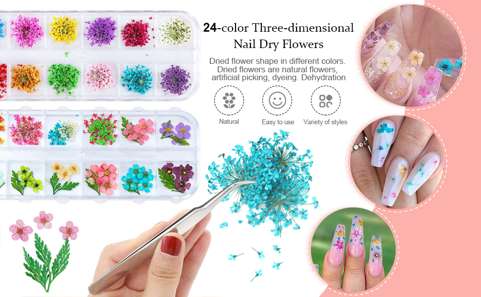 nail art dried flowers