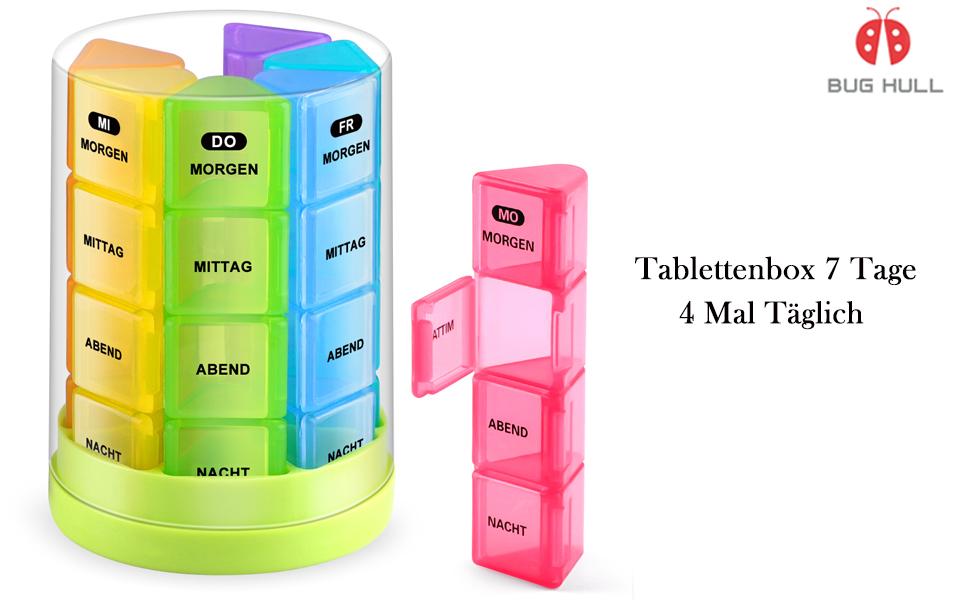 tablettenbox 7 tage 4 fächer- bug hull medikamentenbox pillendose morgens  mittags abends nachts rund: amazon.de: drogerie & körperpflege  amazon.de