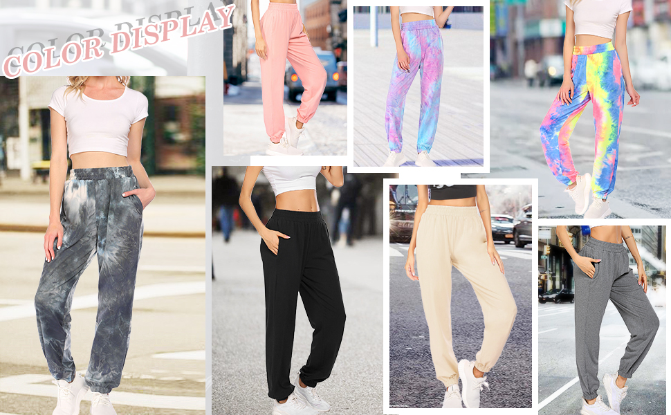 Women's Active High Waisted Sporty Gym Athletic Fit Jogger Sweatpants Baggy Lounge Pants
