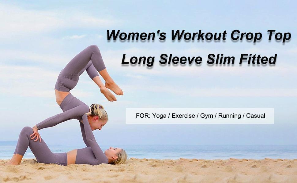 Women Seamless Long Sleeve Yoga Crop Top Thumb Hole