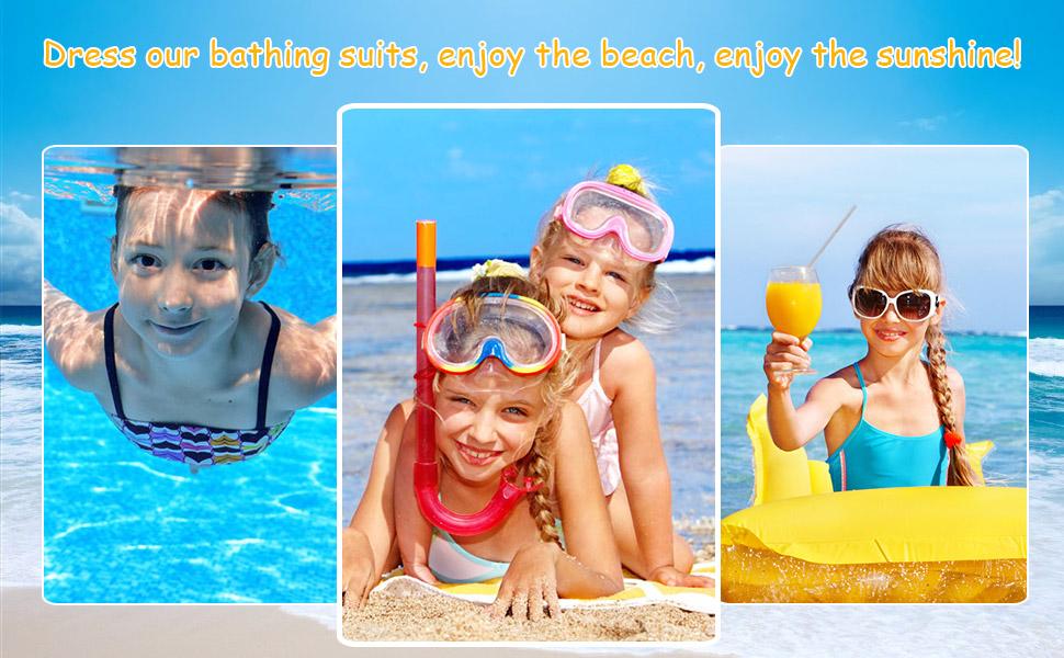 Girls' 2-Piece Rashguard Set UV Sun Protection Long Sleeve Swimsuit Bathing Suits with Zipper