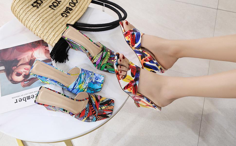 Women's Wedge Heeled Sandals Mules Graffiti Square Open Toe Slip On Backless  Dress Slides Slippers
