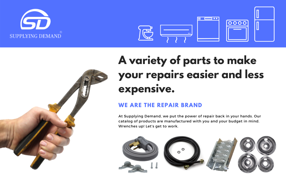 appliance parts, appliance repair, fix, dryer power cord, stove drip pans, washer fill hoses