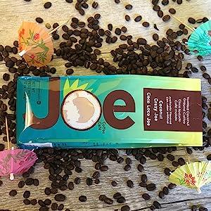 Coconut Crazy Joe.Bright fun packaging. Medium roast toasted coconut flavored gourmet coffee