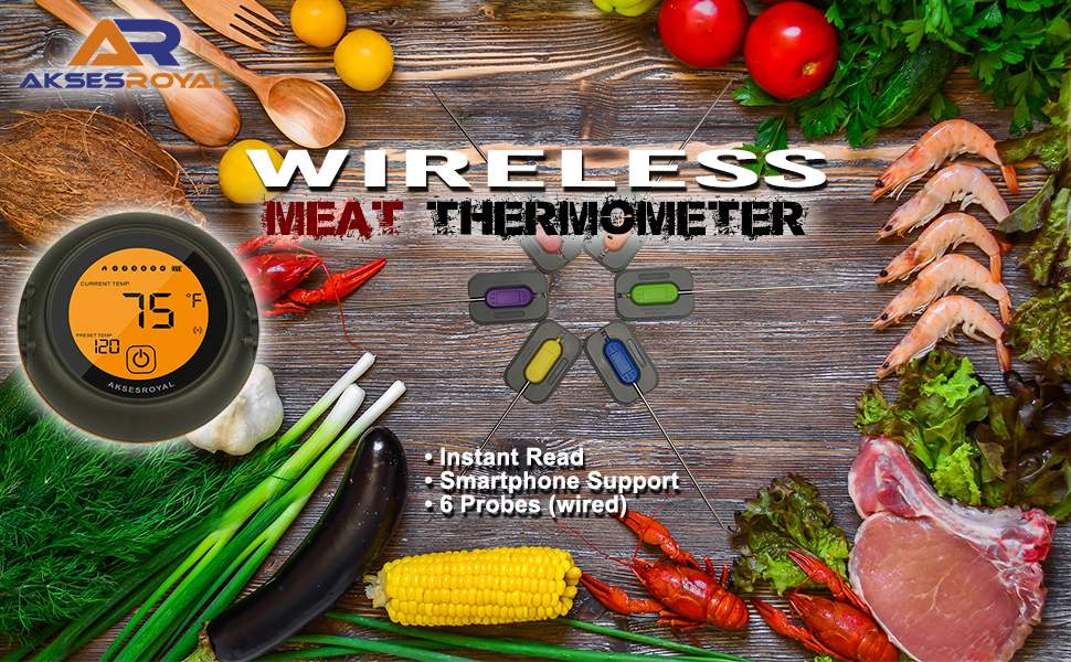 burger alarm indoor oven cooking digital wireless bluetooth meat thermometer smoker accessories bbq