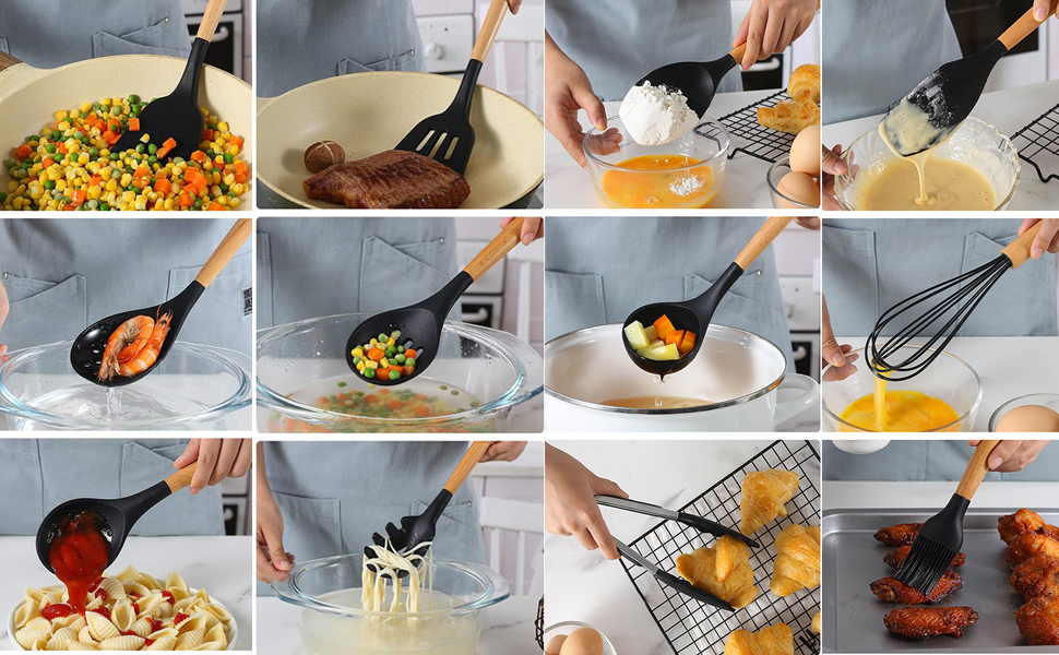 12pcs silicone cooking utensil set nonstick cookware