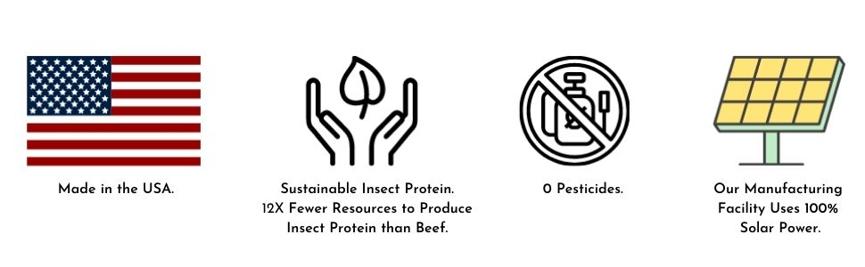 product specifications showing renewable energy,  no pesticides, made in the US