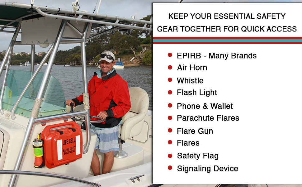 LIFE CELL combines all of this essential safety equipment in a flotation device
