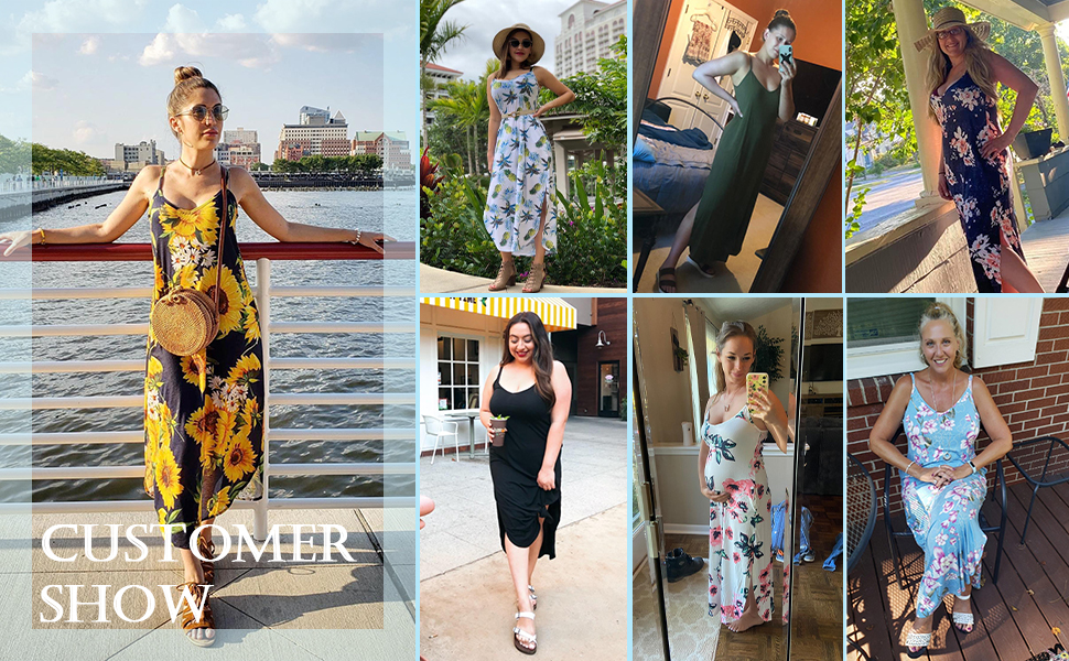 Summer cami maxi dress for women with pockets