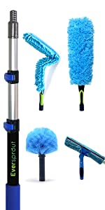 """EVERSPROUT 1.5-to-4.5 Foot Duster Squeegee 4-Pack amp; Extension Pole (17"""" Dusters)"""