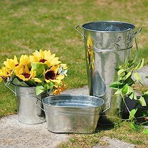 round metal planter