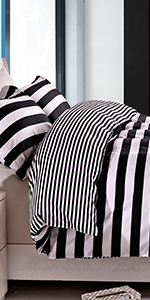 NTBAY Duvet Cover Set Black and White Stripe