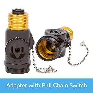 light bulb adapter with pull chain switch and 2 ac outlet plugs receptacles prong