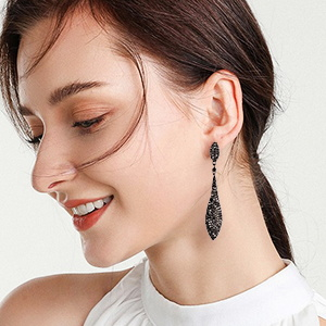 rhinestone crystal black stone earring for her feast ball accessories