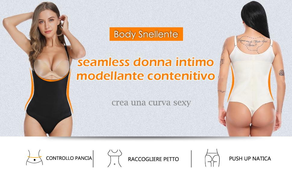 SLIMBELLE Body Snellente Modellante Shaping Underwear Body Shaper Contenitivo Tanga Aperto Busto Intimo Modellante Shapewear Donna Dimagrante