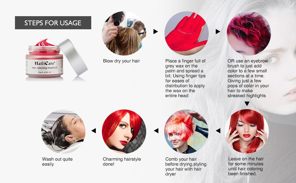 Cera Cabello Rojo, HailiCare Crema Colorante Pelo Temporal para DIY Colorear y Modelar el Cabello de Moda para Hombres y Mujeres