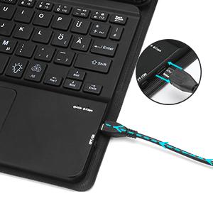 AVNICUD Funda con teclado para iPad Pro 11 pulgadas 2020/2018 (2./1.ª generación), Bluetooth [alemán QWERTZ] Teclado iluminado con funda [Gris (con ...