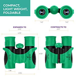 Think Peak Toys Green Kids Binoculars Measurements Small Compact