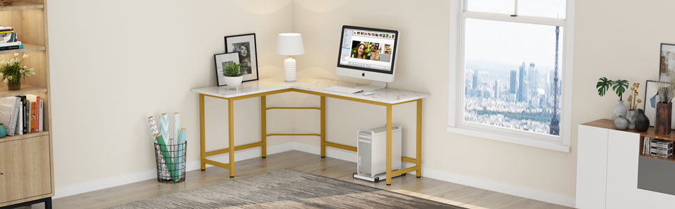 space saving l shaped desk for home use