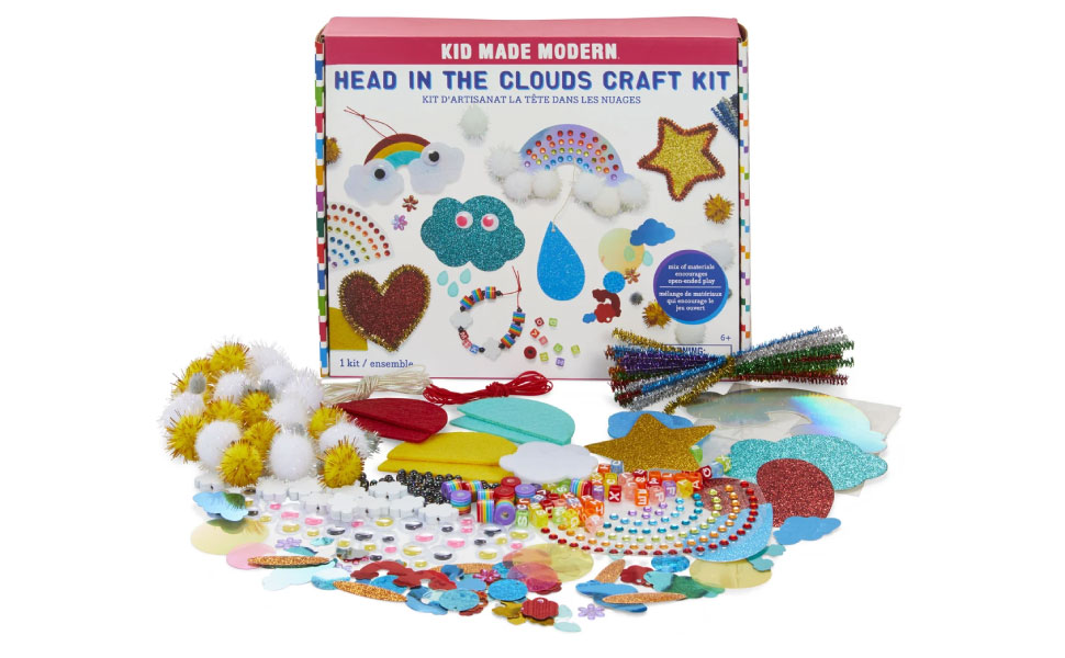 Head in the clouds craft kit party fuzzy balls glue beads colors diy kid arts and crafts sparkle