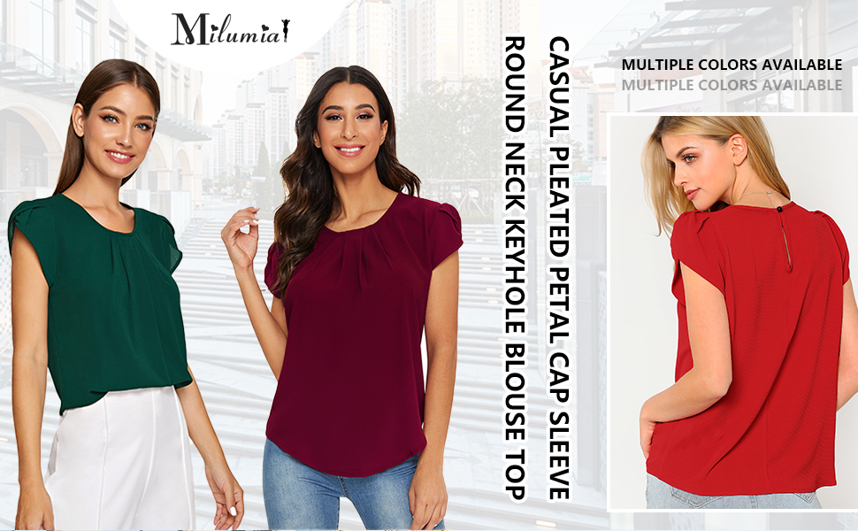 Milumia Women's Elegant Round Neck Basic Pleated Top Cap Sleeve Keyhole Back Work Blouse