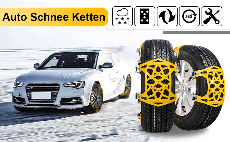 Oziral Auto SchneeKetten 7 St/ück Anti-Rutsch-Einstellbare Ketten Reifen f/ür den Winter Universal Ketten f/ür Notf/älle Breite 165-265mm//6.5-10.4 Starke Ketten f/ür die Meisten Autos SUV Lkws