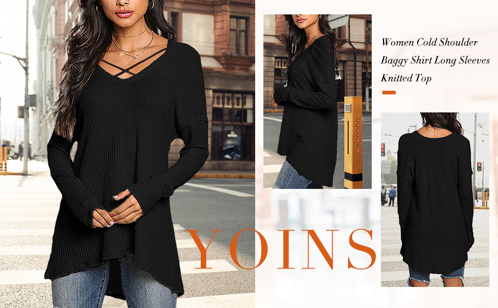 Women Cold Shoulder Baggy Shirt Long Sleeves Knitted Top Off Shoulder Blouses womens clothing