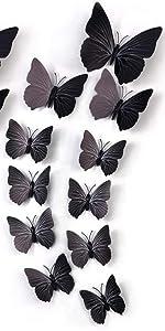 3d butterfly wall stickers black