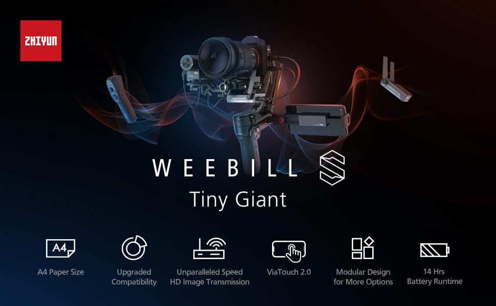 ZHIYUN WEEBILL S 3-Axis Gimbal Stabilizer for DSLR Cameras, Mirrorless Cameras
