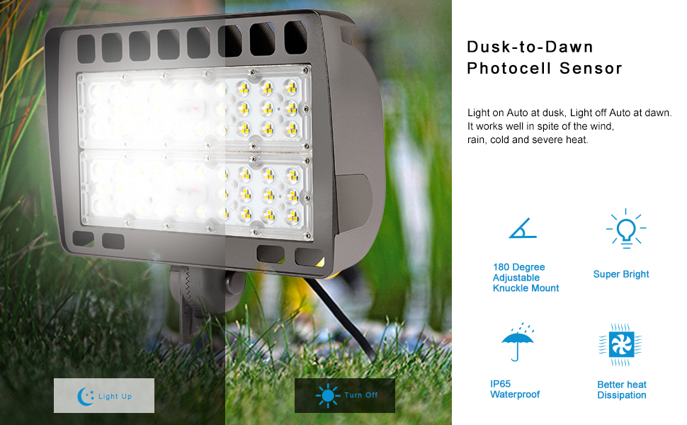 LED Flood Light with Dusk to Dawn Photocell