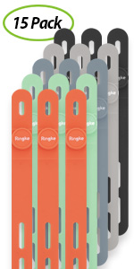 Colorful, reusable cable holder made of durable silicone [15 Pack]
