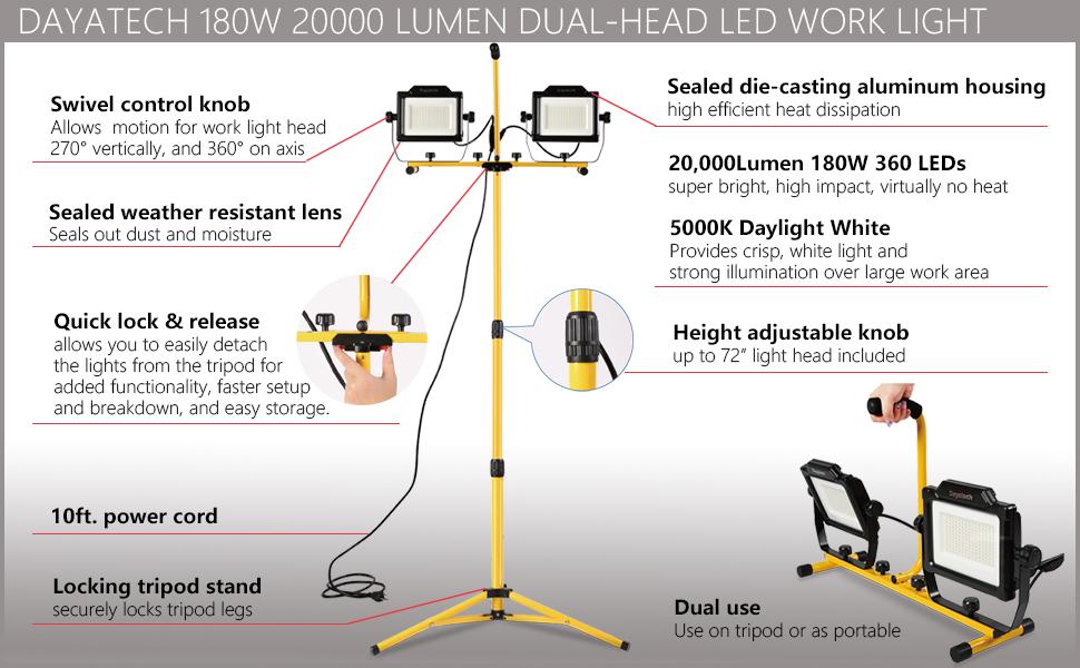 DAYATECH 180W 20000 Lumen Dual-Head LED Work Light 1