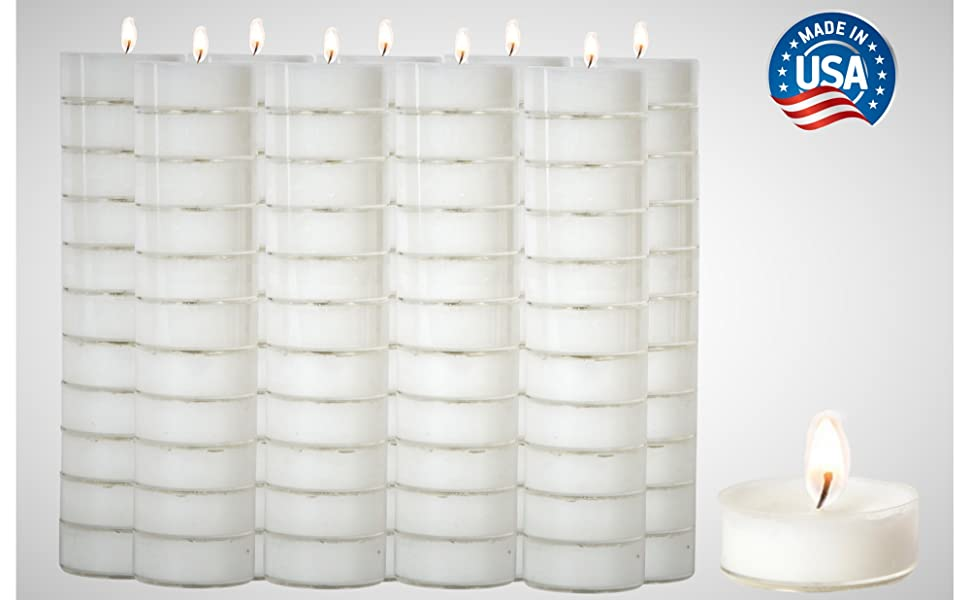 Stock Your Home White Unscented Tealight Candles (Set of 100) USA Made Classic Tea Lights