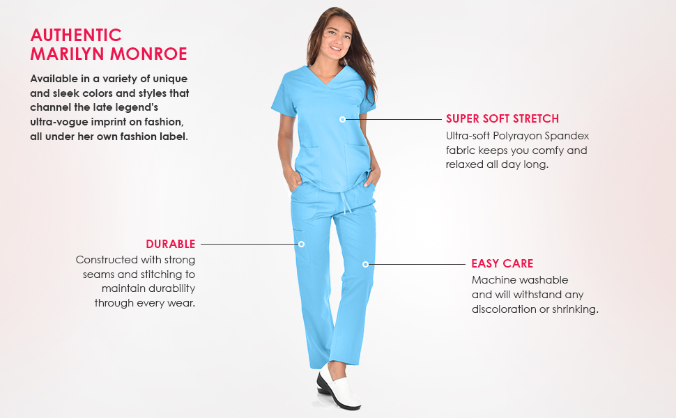 An infographic calling out the features of Marilyn Monroe scrubs: durable, soft stretch, easy care