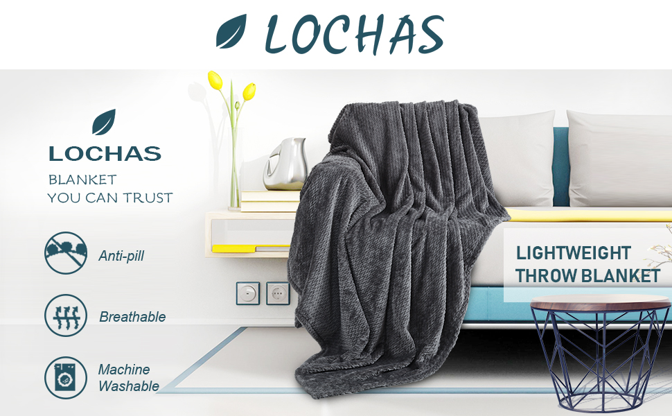 LOCHAS Soft Plush Throw Blanket Cozy Flannel Fleece Bed Throws Warm Microfiber Solid Blankets for Bed,Sofa,Couch(Twin Size 60 x 80 inches,Grey)