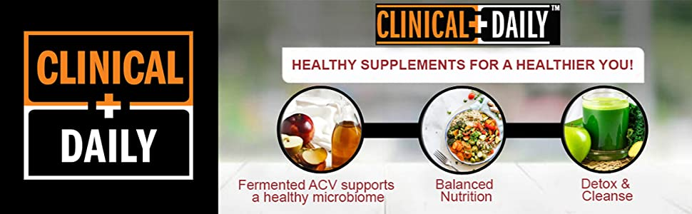 Clinical Daily Logo beside images of benefits of Apple Cider Vinegar (ACV) supplement