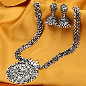 Necklace Set-SO Nayanthara style German silver oxidized necklace set with jhumka earrings