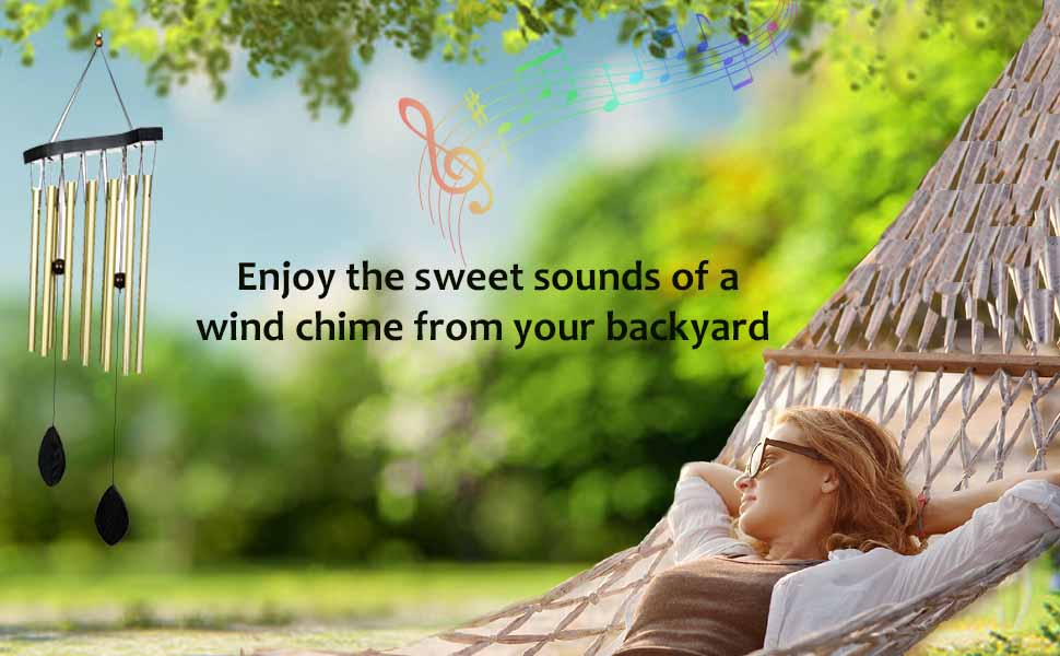 Ashman 30 inch Golden Wind Chimes - Tone Sympathy Wind Chimes with 12 Golden Copper Vein Tubes