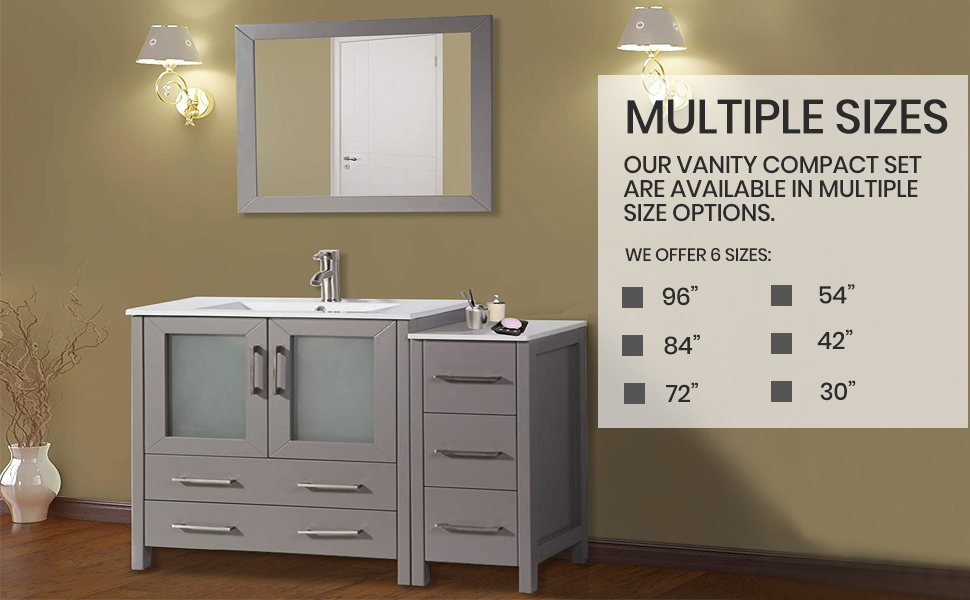 Amazon Com Vanity Art 42 Inch Single Sink Modern Bathroom Vanity Combo Set 1 Shelf 5 Drawers Ceramic Top Bathroom Cabinet With Free Mirror Va3030 42 G Kitchen Dining