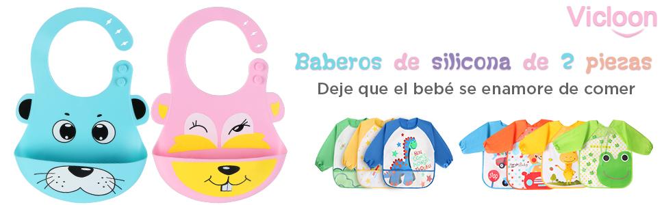 Vicloon Babero de Bebé del Silicona,2pcs Baberos Reutilizables Impermeable súper suave,Fáciles de Lavar Babero Alimenticio de Silicona para Bebé Niño ...