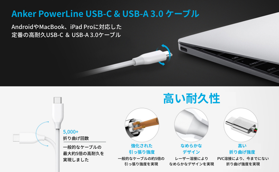 Anker USB Type C ケーブル PowerLine USB-C & USB-A 3.0 ケーブル