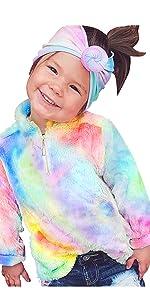 Girls Tie Dye Fleece Pullover