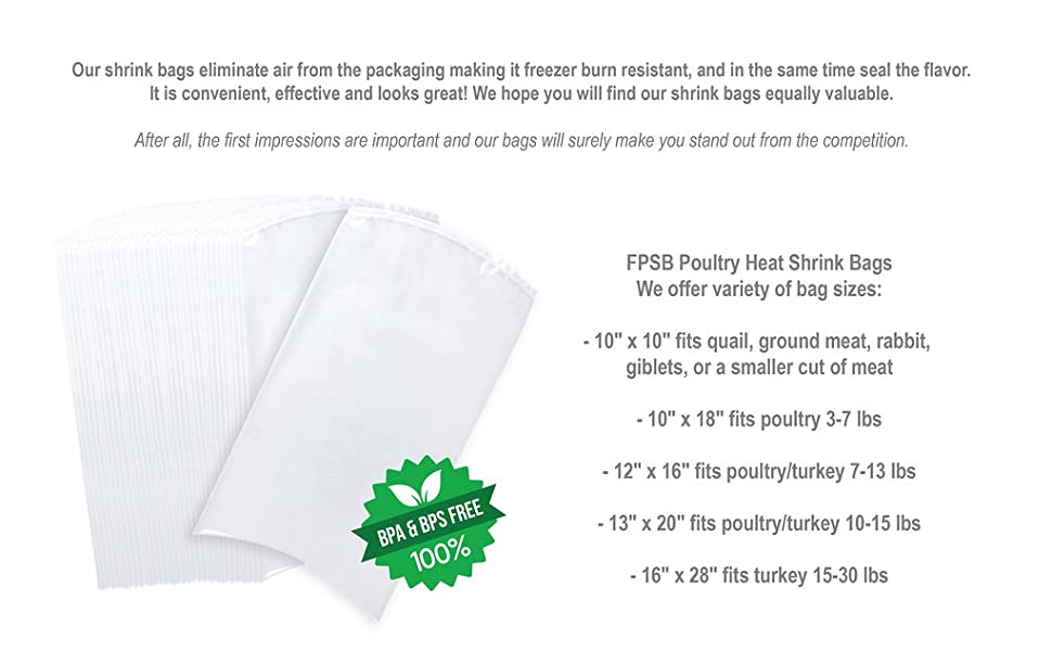shrink bags, meat storage, farmers, farm supply, poultry shrink bags,