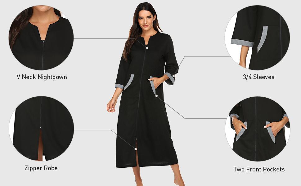 Ekouaer women zipper front robe