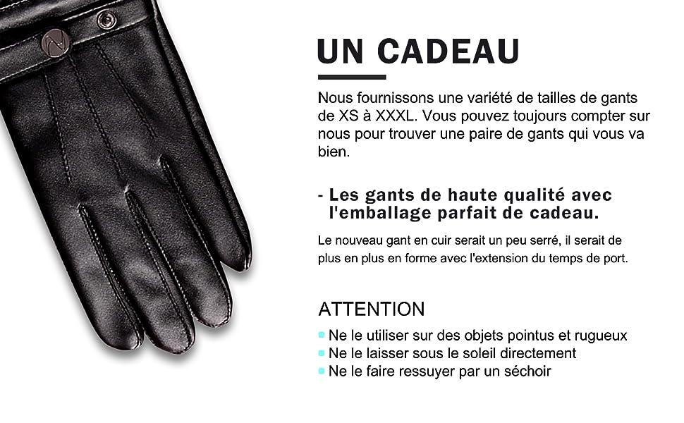 Les gants de haute qualité avec l'emballage parfait de cadeau.
