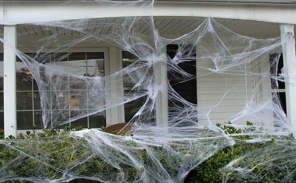 Huttoly Halloween Deko Spinnennetz Halloween Spinnweben Dekoration Spinnennetz 6 Pack 120g mit 20 Spinnen f/ür Kamin T/ür Karneval Halloween Party Grusel Deko Tischdekoration